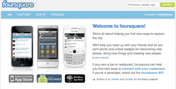 Foursquare homepage